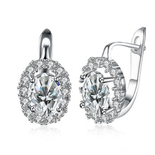 Load image into Gallery viewer, White Swarovski Elements Leverback Earrings in 18K White Gold Plating
