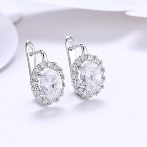 White Swarovski Elements Leverback Earrings in 18K White Gold Plating