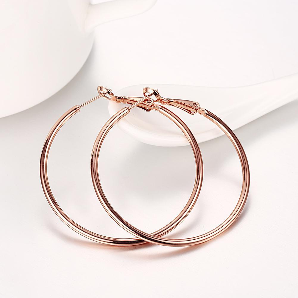 42mm Round Hoop Earring in 18K Rose Gold Plating