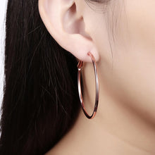 Load image into Gallery viewer, 42mm Round Hoop Earring in 18K Rose Gold Plating