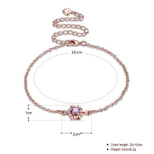 Load image into Gallery viewer, Pink Topaz Anklet in 18K Rose Gold Plating