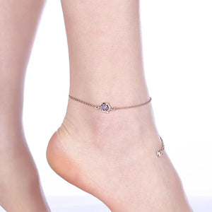 Pink Topaz Anklet in 18K Rose Gold Plating