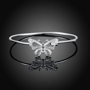 Butterfly Cuff Bangle in 18K White Gold Plating