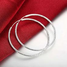 Load image into Gallery viewer, 50mm Sparkle Hoop Earring in 18K White Gold Plating