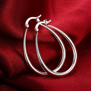 40mm French Lock Hoop Earring in 18K White Gold Plating