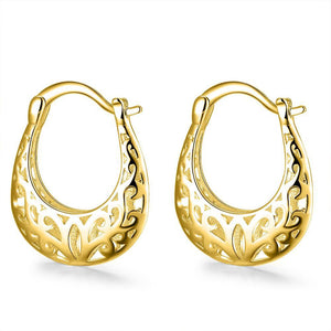 Filigree Leverback French Lock Earring in 18K Gold Plating