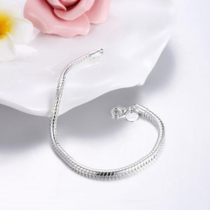 Snake Chain Bracelet in 18K White Gold Plating