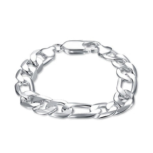 Silver Thick Cut Figaro Bracelet