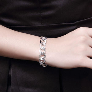 Thick Curb Bracelet in 18K White Gold Plating