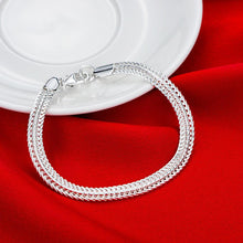 Load image into Gallery viewer, Flat Byzantine Chain Bracelet in 18K White Gold Plating
