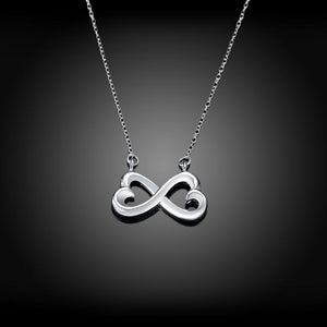 Infinity Heart Necklace in 18K White Gold Plating