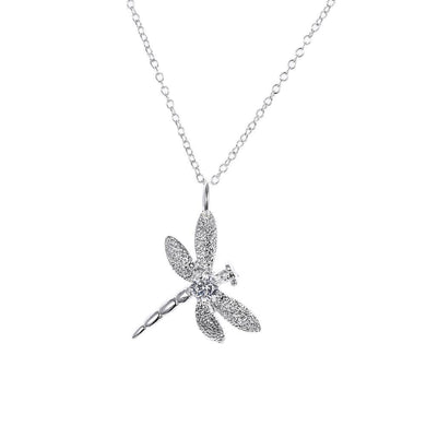 Dragonfly Necklace in 18K White Gold Plating