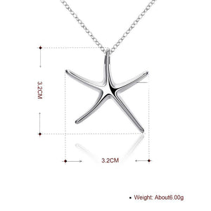 Starfish Necklace in 18K White Gold Plating