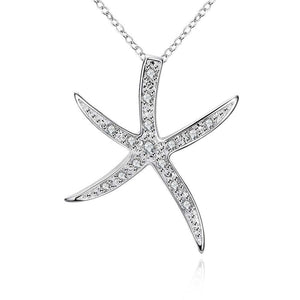 Starfish Pave Necklace in 18K White Gold Plating