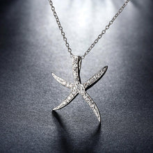 Load image into Gallery viewer, Starfish Pave Necklace in 18K White Gold Plating