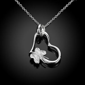 Butterfly Heart Necklace in 18K White Gold Plating