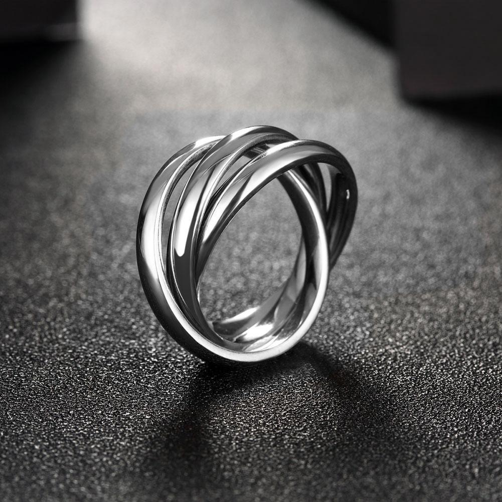 18k White Gold Plated Bands Stainless Steel Rolling Ring