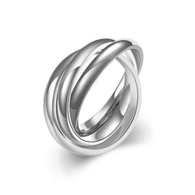 Load image into Gallery viewer, 18k White Gold Plated Bands Stainless Steel Rolling Ring