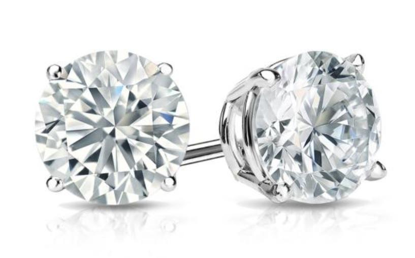White Topaz Stud Earring in 14K White Gold Plating
