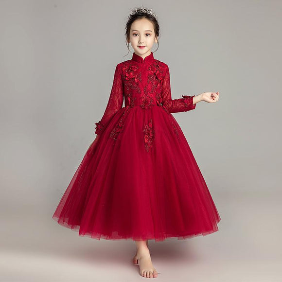 Red lace tutu puffy skirt little girl birthday dress flower girl dresses