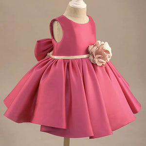 Rose red puffy skirt little baby toddlers girl birthday flower girl dresses - Anna's Couture Dresses