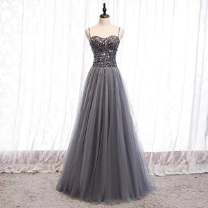 Spaghetti straps sweetheart sequins crystals beaded gray tulle prom dresses 2020 - Anna's Couture Dresses