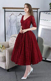 Long sleeves tea length puffy skirt red burgundy black blue pink prom engagement dresses 2020