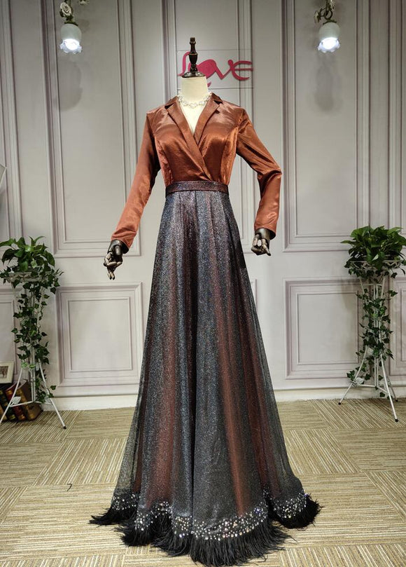 Long sleeves brown black mother of the bride dress with feather - Anna's Couture Dresses