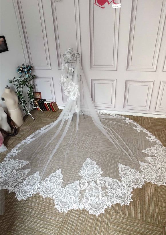 Cathedral length long lace appliques chic wedding veil - Anna's Couture Dresses