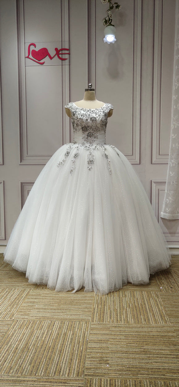 Cap sleeves lace appliques sliver crystals rhinestones beaded ball gown wedding dresses - Anna's Couture Dresses