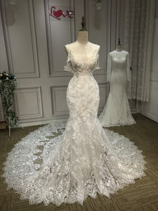 Luxury crystlas pearls beaded mermaid fit and flare  lace wedding dresses