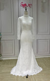 Chic muslim long sleeves eyelash lace mermaid  wedding dress 2020