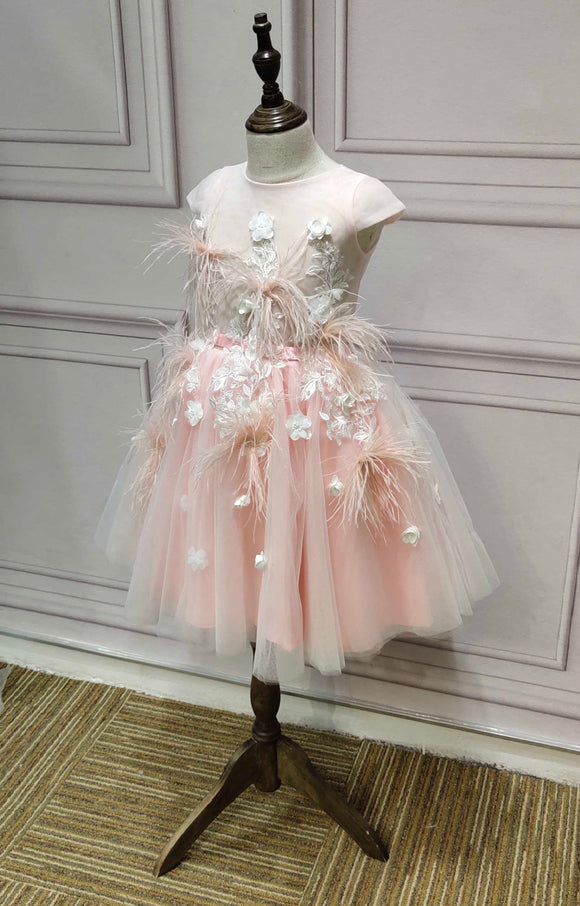Lighter pink tutu baby toddlers flower girl dress with feather and flowers crystals beaded - Anna's Couture Dresses