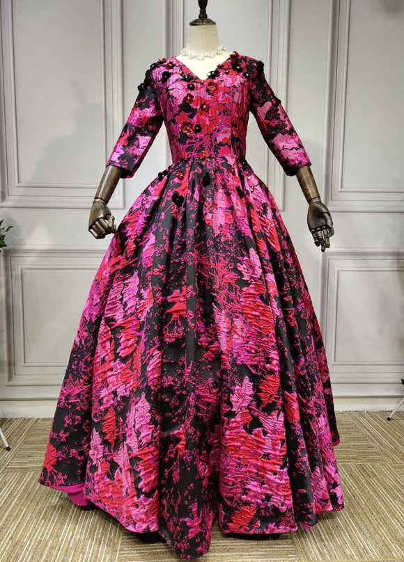 Long sleeves black and pink jacquard puffy skirt prom dress 2020 - Anna's Couture Dresses
