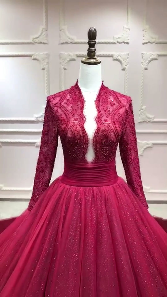 Long sleeves eyelash lace bodice deep v neck puffy skirt red burgundy prom wedding dress 2020