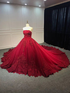 Strapless dark red ball gown lace appliques pearls crystals sequins beaded wedding dresses - Anna's Couture Dresses