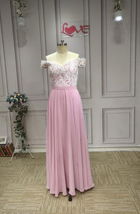 Off shoulder lace appliques top chiffon skirt dusty pink bridesmaid dresses 2019 best seller - Anna's Couture Dresses