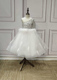 Rhinestones crystals beaded feather on the waistline little flower girl ball dress 2020