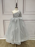 One shoulder sliver rhinestones crystals beaded little flower girl ball dress 2020 - Anna's Couture Dresses