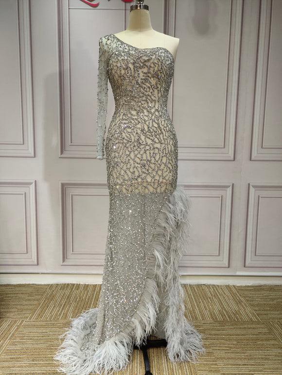 One shoulder sliver crystals rhinestones beaded mermaid slit sexy gray feather prom dresses - Anna's Couture Dresses