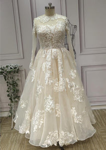 Ready made cream vintage lace appliques long sleeves tea length receiption wedding dresses - Anna's Couture Dresses
