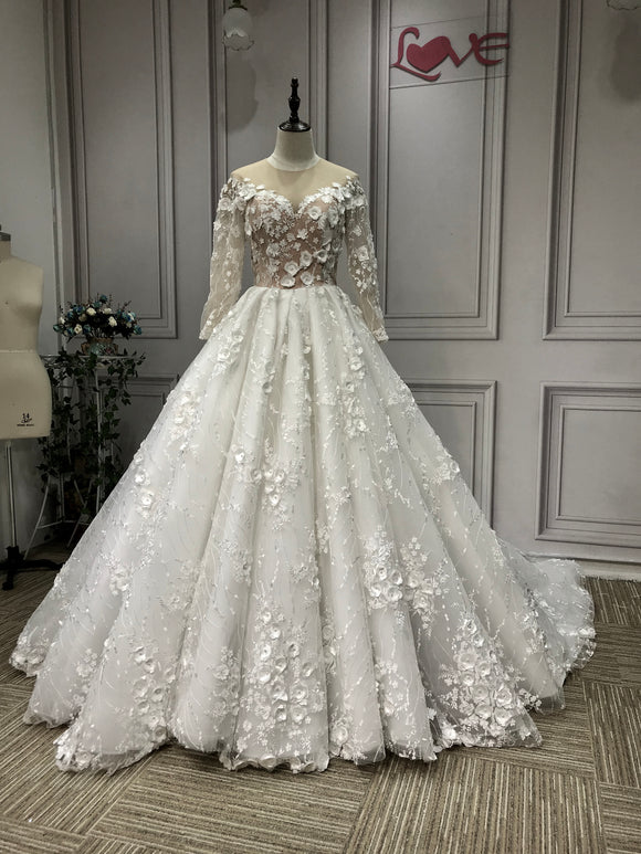 Long sleeves 3D lace flowers all pearls beaded ball gown wedding dresses 2020 - Anna's Couture Dresses