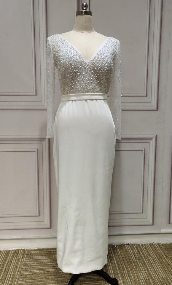 Long sleeves pearls beaded bodycon ivory prom wedding dresses - Anna's Couture Dresses
