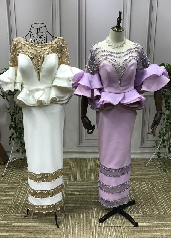 Two pieces pearls crystals beaded prom dresses 2019 - Anna's Couture Dresses