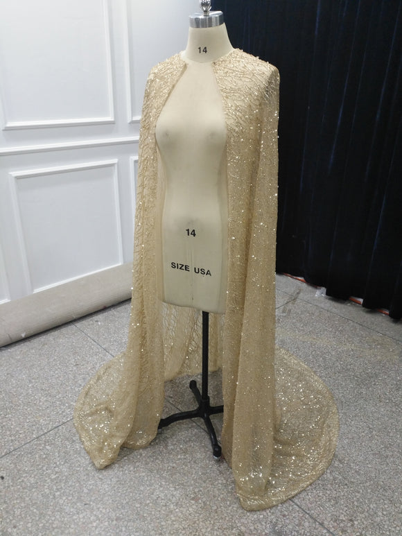 Gold sliver ivory white glitter shiny wedding cape - Anna's Couture Dresses