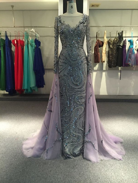 Purple long sleeves mermaid prom dresses with removable train sliver crystals rhinestones - Anna's Couture Dresses
