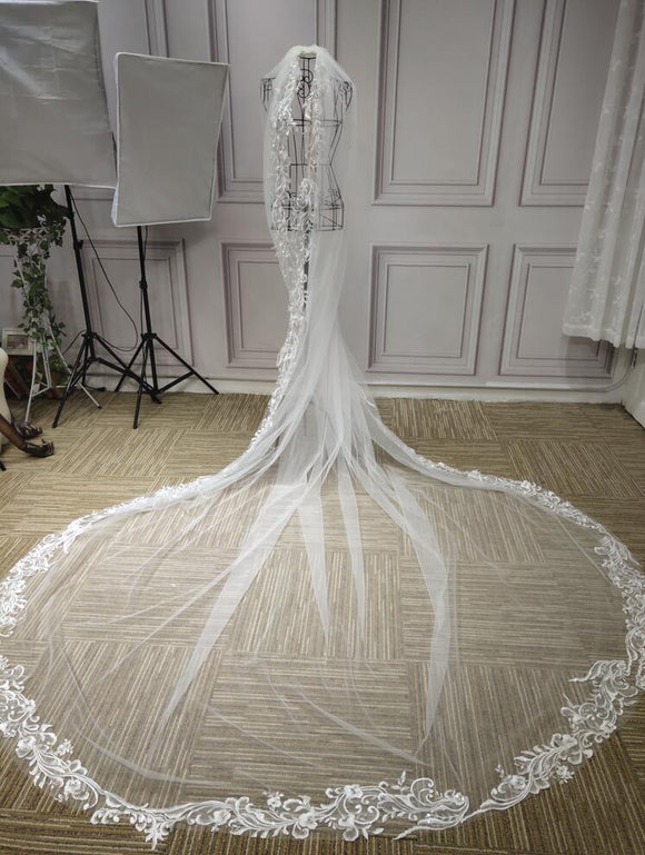 Long Lace appliques wedding veil - Anna's Couture Dresses