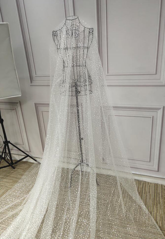 Glitter dots shiny long wedding veil - Anna's Couture Dresses