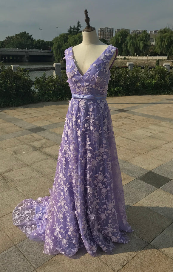 Fairytale floral lace purple a line prom dress 2020