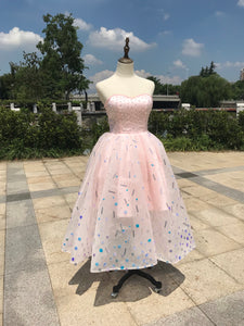 Sweetheart pink crystals sequins handmade beaded ball skirt tea length couture prom dress 2020
